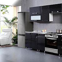 Fényes, fekete konyhabútor modern háztartásba