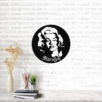 Marilyn Monroe fekete fém fali dekoráció, ⌀ 49 cm