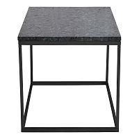 Accent fekete gránit tárolóasztal fekete fémvázzal, 50 cm széles - RGE