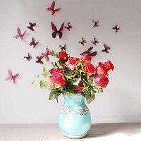 Butterflies Chic piros 3D falmatrica, 18 darab - Ambiance
