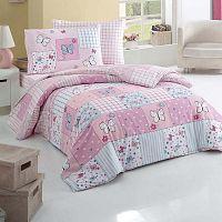 Butterfly rózsaszín ágyneműhuzat-garnitúra lepedővel egyszemélyes ágyhoz, 160 x 220 cm