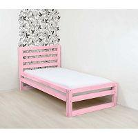DeLuxe rózsaszín egyszemélyes fa ágy, 190 x 80 cm - Benlemi