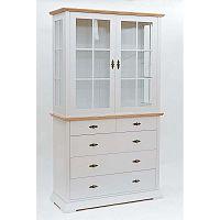 Family Marika fehér szekrény, tölgyfa részletekkel és 5 fiókkal - We47