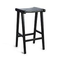 Fekete teakfa bárszék, marhabőr üléssel - Simla