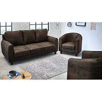 Felicita sötétbarna háromszemélyes kanapé 2 darab fotellel - Bobochic Paris