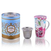 Flower White csésze szűrővel és fedéllel, 350 ml - Silly Design