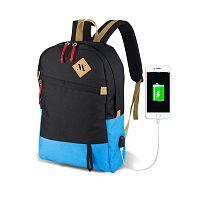 FREEDOM Smart Bag fekete-türkiz hátizsák USB csatlakozóval - My Valice
