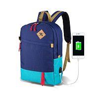 FREEDOM Smart Bag kék-türkiz hátizsák USB csatlakozóval - My Valice