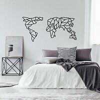 Geometric World Map fekete fém fali dekoráció, 120 x 58 cm