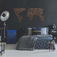 Geometric World Map rézszínű fém fali dekoráció, 150 x 80 cm