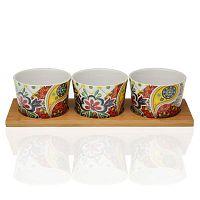 Giardino 3 db porcelán tálka, bambusz tálcával - Versa