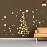 Golden Christmas Tree And Stars karácsonyi matricák - Ambiance