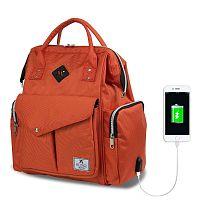 HAPPY MOM Baby Care Backpack narancssárga hátizsák anyukáknak USB csatlakozóval - My Valice