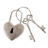 Heart Rustico dekorációs fehér öntöttvas kulcs - Dakls