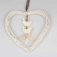 Heart Small fehér rattan dekoráció - Dakls
