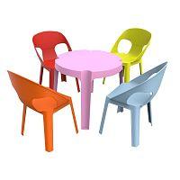 Julieta gyerek kerti garnitúra, 1 rózsaszín asztal és 4 szék - Resol