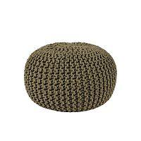 Knitted khakiszínű kötött puff, Ø 50 cm - LABEL51