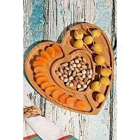 Kutahya Snacks Lovely szív alakú bambusz felszolgáló tálca, 27 x 28 cm
