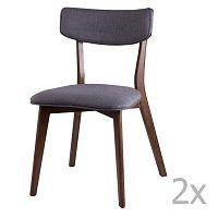 Lin sötétszürke étkezőbe való székkészlet, 2 részes - sømcasa