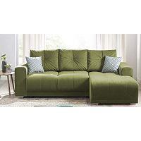 Lisbona zöld kinyitható kanapé, jobb oldali kivitel - Bobochic Paris