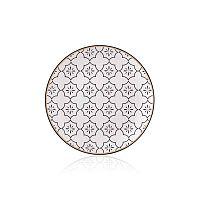 Maroc Marrakesh fekete-fehér csontporcelán tányér, ⌀ 20 cm - The Mia
