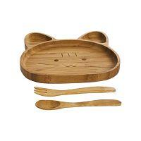 Medveformájú gyerektányér és evőeszköz bambuszból - Bambum