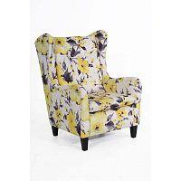 Merlon sárgás-fehér virágmintás füles fotel - Max Winzer