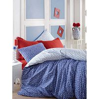 Pave kétszemélyes kék színű, pamut ágyneműhuzat garnitúra lepedővel, 200 x 220 cm