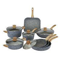 Pierre Gourmet 8 darabos edénykészlet fedőkkel és fa mintázatú fülekkel - Bisetti