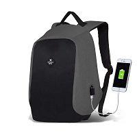 SECRET Smart Bag fekete-szürke hátizsák USB csatlakozóval - My Valice