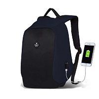 SECRET Smart Bag sötétkék-fekete hátizsák USB csatlakozóval - My Valice