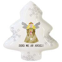 Send Me An Angel porcelán dekorációs tál karácsonyi motívummal, 19,5 x 23 cm - PPD
