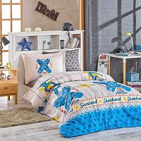 Skateboard kék ágyneműhuzat-garnitúra lepedővel egyszemélyes ágyhoz, 160 x 220 cm