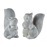 Squirrel 2 darabos szürke dekorációs figura készlet, - KJ Collection