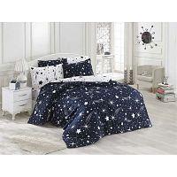 Starry Night sötétkék ágyneműhuzat-garnitúra lepedővel egyszemélyes ágyhoz, 160 x 220 cm