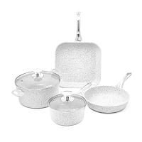 Stonewhite 4 darabos edénykészlet fedőkkel és ezüstszínű fülekkel - Bisetti