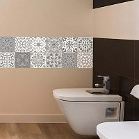 Wall Decal Tiles Grey and White Torino 12 db-os falmatrica szett, 20 x 20 cm - Ambiance