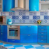 Wall Decals Blue Santorini Tiles 9 db-os falmatrica szett, 20 x 20 cm - Ambiance