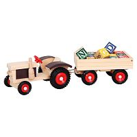 Bino Traktor gumikerekekkel és pótkocsival