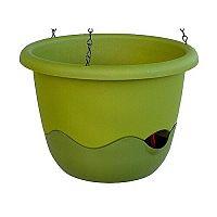 Plastia Mareta 30 önöntöző virágtartó, zöld, függesztett, 30 cm átmérőjű