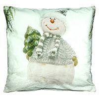 Sapkás hóember párnahuzat, fehér, 40 x 40 cm