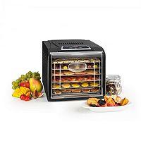 Klarstein Fruit Jerky Plus 6 gyümölcsszárító gép, időzítő, 6 polc, fémlemez, 420-500 W, fekete