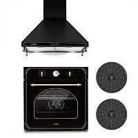 Klarstein Victoria, beépíthető sütő és páraelszívó szett, 2 x aktív szén filter, fekete