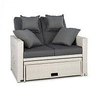 Blumfeldt Komfortzone Rattan-Lounge-Sofa, rattan kanapé, polyrattan, kihajtható asztalok, fehér