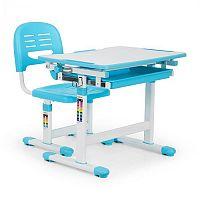 OneConcept Tommi gyerek íróasztal, kétrészes készlet, asztal, szék, állítható magasságú, kék
