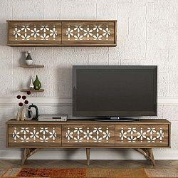 Flomar diófamintás TV-állvány és fali szekrény szett
