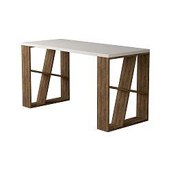 Honey tölgyfamintás íróasztal, fehér asztallappal