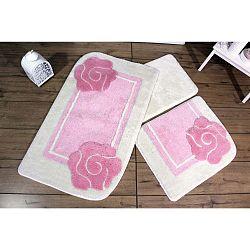 Knit Knot 3 darabos rózsaszín-fehér fürdőszobaszőnyeg szett virág motívummal