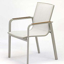 Rotonde szürke kerti fotel teakfa részletekkel, 4 db - Ezeis