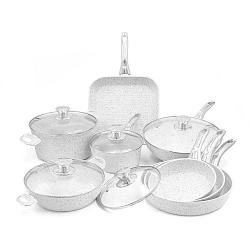 Stonewhite 8 darabos edénykészlet fedőkkel és ezüstszínű nyéllel - Bisetti